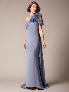 Marchesa Couture Silk Crepe Chiffon Drape Gown