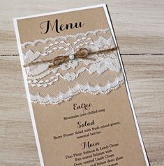 Rustic wedding, Wedding Menus - Menu, Simple, Calligraphy, Wedding Reception Dinner Menu, Place setting on Etsy