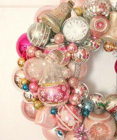 DIY home decor wreath ideas - pink Christmas vintage ornament wreath Noel Christmas, Vintage Christmas Ornaments, Pink Christmas, Christmas Crafts, Christmas Decorations, Christmas Mantles, Victorian Christmas, Homemade Christmas, Christmas Christmas