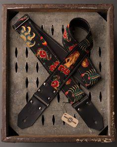 Tattoo Series 2 black fabric on black by HangOverGuitarStraps