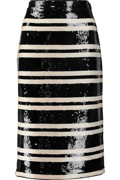 Alice + Olivia Rue striped sequined georgette pencil skirt