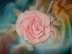 """Купить Брошь-заколка из фоамирана. Роза """"Акварель"""" - бледно-розовый, розы ручной работы"""