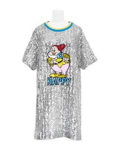 A New Snow White and the Seven Dwarfs Collection from Mary Katrantzou Is Now Available At Colette Snow White Seven Dwarfs, Mary Katrantzou, Silver Dress, Disney Style, Dress Up, Disney Fashion, Mens Tops, Clothes, Collection