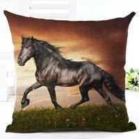 Fashion Horse Motif Cotton Watercolor Linen Cushion Cover