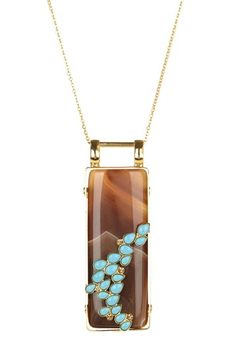 Large Rectangle Brown Agate & Turquoise Pendant Necklace by Date Night: Accessorize Yourself on @HauteLook