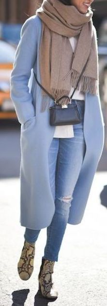 fall outfit ideas / baby blue coat + scarf