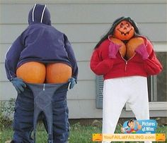 Funny Pumpkin Scarecrows. If I dared to do this my grandkids would never stop talking about it for years! Only the back side I might dare, but unlikely.