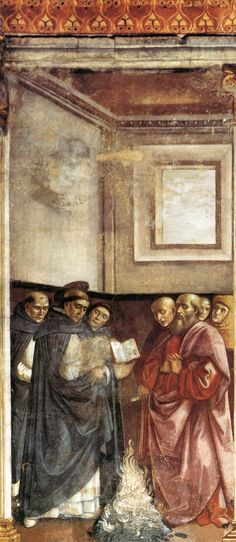 Доменико Гирландайо. Фрески на задней стенке и сводах. Санкт-Доминик сжигает еретические писания. 1486-90 Капелла Торнабуони, Санта-Мария-Новелла, Флоренция