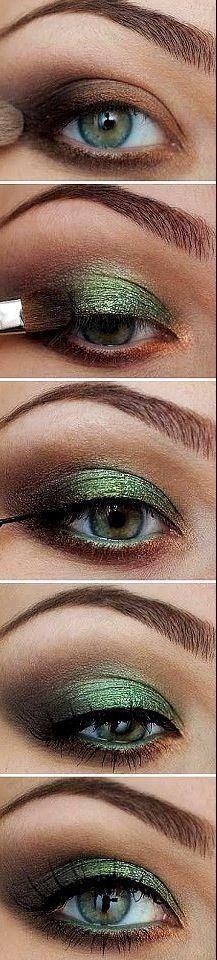Maquillage yeux ombré bronze et vert