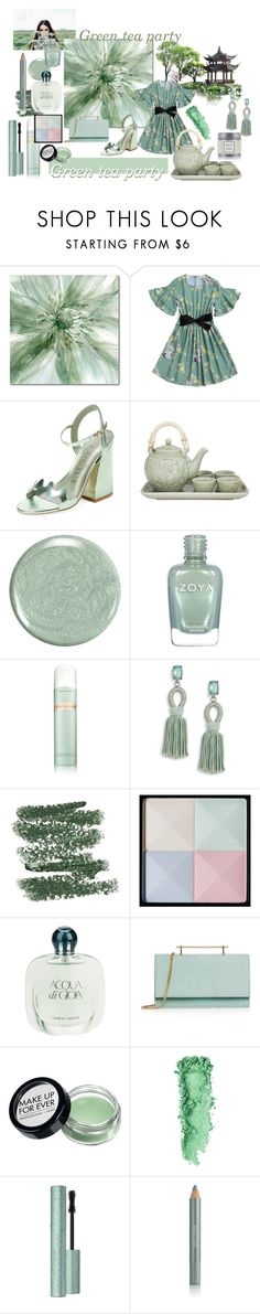 """""""Green tea party"""" by lizzylima ❤ liked on Polyvore featuring Courtside Market, Ivy Kirzhner, NOVICA, La Mer, Oscar de la Renta, Kusmi Tea, Givenchy, Giorgio Armani, M2Malletier and MAKE UP FOR EVER"""
