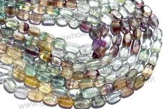 Multi Fluorite Smooth Oval (Quality B) (Pack of 6 Strands) / 6x9 to 7.5x11 mm / 21 to 23 Grms / 36 cm / FL-013 by GemstoneWholesaler on Etsy