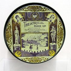 Theatrical makeup tin, advertising for M. Stein Theatrical Make Up Cold Cream, excellent Art Nouveau graphics,  with gold leaf lithograph border and