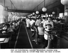 Bata East Tilbury Leather Factory Building 24 shoe production line, heels and closing room 1951, photo courtesy Tusa Family Archive