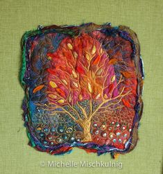 Felted ground with embroidery detail. One of a series of four stretched and in floating frame, 46x49cm sold
