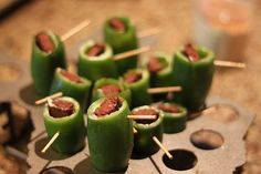 Jalapeno stuffed with cream cheese and dark fudge Handman Tester Foie Gras, Stuffed Hot Peppers, Cookie Desserts, Caramel Apples, Fudge, New England, Bacon, Cheese, Snacks