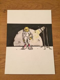 Moon landing. Aquarell and Marker. Format: A5