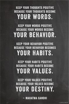 Gandhi Quotes - Keep your thoughts positive because your thoughts become your words. Keep your words positive because your words become your behavior. Keep your behavior positive because your behav. The Words, Cool Words, Citation Gandhi, Great Quotes, Quotes To Live By, Quotes Inspirational, Quotes From Gandhi, Motivational Quotes For Workplace, Workplace Quotes