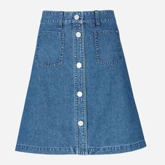 Wood Wood Blue Nabbi Denim Skirt: The Nabbi skirt isa-line button down skirt with pocket and branded button details. Slightly high-waisted fit in the perfect all seasons vintage dark blue. Features a button down front with branded 'W.W' detail.