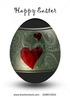 Silver egg with hearts
