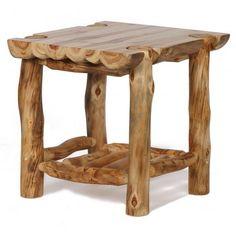 Aspen Ridge Half-Log End Table Cedar Furniture, Rustic Log Furniture, Driftwood Furniture, Cabin Furniture, Furniture Projects, Cool Furniture, Furniture Design, Western Furniture, Modern Furniture