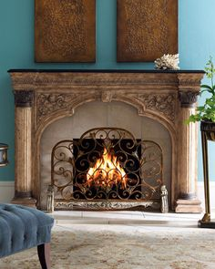 9 Simple and Creative Tricks: Double Sided Fireplace Cabinets tv over fireplace components.Old Fireplace Aesthetic cozy fireplace brick. Fireplace Screens, Simple Fireplace, Fireplace Accessories, Fireplace Design, Victorian Fireplace, Kitchen Fireplace, Fireplace Mantels, Wrought Iron Fireplace Screen, Fireplace