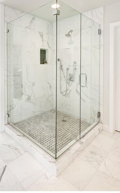 White Bathroom With Marble Walls : Amazing Bathroom Marble Shower Walls Marble Tile Bathroom, White Marble Bathrooms, Marble Showers, Bathroom Floor Tiles, Marble Wall, Marble Floor, Glass Showers, Marble Mosaic, Bathroom Wall