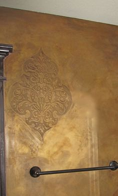 Embedded RDS stencil with Lusterstone and wax. Work by Tiffany Alexander of Blank Canvas Design Studio.