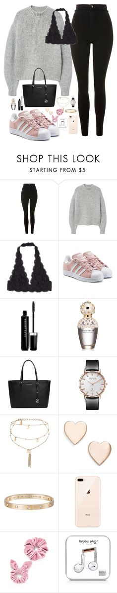 """Untitled #1173"" by maria-canas ❤ liked on Polyvore featuring Topshop, MANGO, adidas Originals, Marc Jacobs, MICHAEL Michael Kors, Ettika, Poppy Finch, Cartier and Happy Plugs"