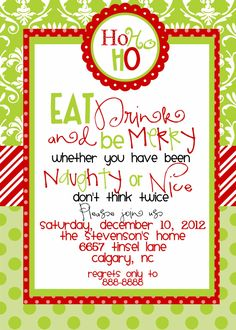 christmas party invitations templates free printables - Google Search