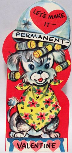 J1030 50s Dog Makes it PERMANENT-Hair Dryer-Salon-Vintage Diecut Valentine Card