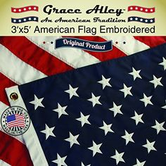 American Flag: 100% American Made - Usa Flags Made In Usa - Embroidered Stars And Sewn Stripes - Free Shipping For Prime Members And Amazon A To Z Guarantee. Us Flags 3 X 5 Ft By Grace Alley. This 3X5 American Flag Meets Us Flag Code. Made In Usa!, 2015 Amazon Top Rated Flags #Lawn&Patio