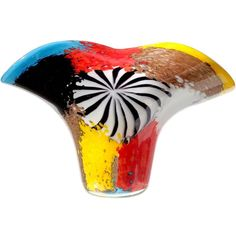 Dino Martens Murano Multicolor Oriente Italian Art Glass Fan Shape Flower Vase   From a unique collection of antique and modern vases and vessels at https://www.1stdibs.com/furniture/decorative-objects/vases-vessels/
