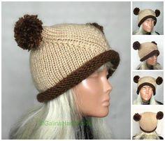 Knit Cat Ear Hat Cat Ear Flap Beanie Chunky Knit by GalinaHandmade