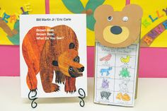 """We read """"Brown Bear, Brown Bear"""" and made a paper bag puppet which we used to retell the story. Click here for the FREE Brown Bear Templates!"""