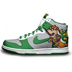 Bowser Nike Dunks FREE SHIPPING ($350) ❤ liked on Polyvore