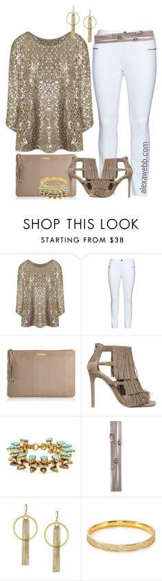 Plus Size - Sequins & White Denim by alexawebb on Polyvore #alexawebb @alexandrawebb #plussize #plus #size #fashion