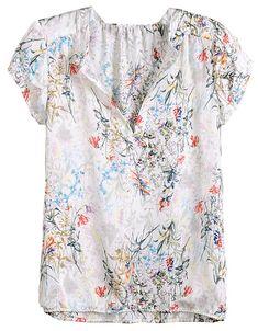 White V Neck Short Sleeve Floral Blouse - Sheinside.com
