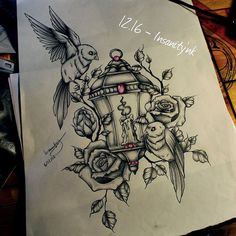Disponible, 70 € Il fait 37 cm de haut et 24 de large #draw #drawing #sketching #tattoosketch #tattoodesign #tattooflash #tattoodraw #roses #neotrad #neotraditionaltattoo #gemstone #beads #bird #birdtattoo #lantern #lanterntattoo #blacktattoos #darkartists #floraltattoo #candles