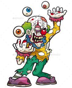 Vector illustration of Cartoon clown zombie