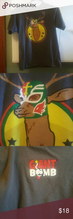 Giant Bomb Luchadeer American Apparel t-shirt m Giant Bomb promotional shirt printed on American Apparel t-shirt size medium also has whiskey tag men's unisex a hundred percent cotton graphic on front is a deer wearing a Mexican wrestling mask American Apparel Shirts Tees - Short Sleeve