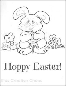 Easter Bunny Coloring Page Printable for kids
