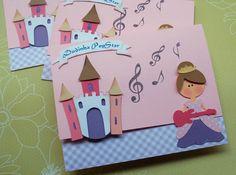 Convite em scrapbook tema princesa popstar.