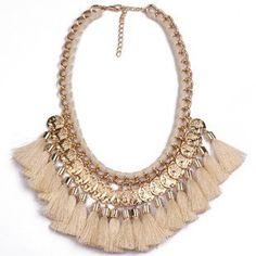 Beige Fringe Coins Necklace