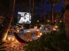 Outdoor cinema in Miami Beach  Part of the fascinating outdoor area of The Miami Beach EDITION, the Sandbox is a modish tropical hideout complete with hammocks, inviting low-lying beds, and a huge outdoor movie screen, where you can watch movies under the stars.