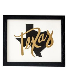 Loving this Gold 'Texas' Script Map Print on #zulily! #zulilyfinds