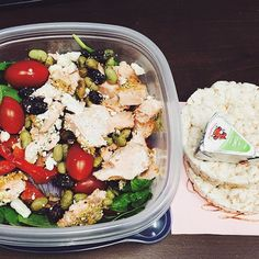 Dinner at work was a spinach salmon salad and rice cakes with laughing cow ✌️😋 #balanced #protein #macros #micros #salad #nomz