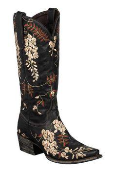 Lane Women's Black Wisteria Cowgirl Boots
