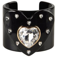 Dolce & Gabbana Bracelet ($215) ❤ liked on Polyvore featuring jewelry, bracelets, accessories, cuff, black, bracelet jewelry, cuff bangle, herringbone bracelet, black jewelry and black bracelet