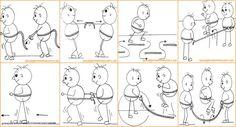 Bewegen met kleuters - Oefenvormen Touw Body Map, Pinocchio, Kids Sports, Gymnastics