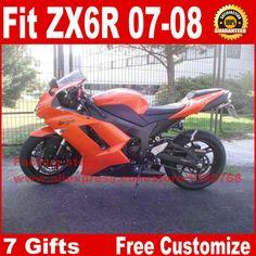 Hot fairings for Kawasaki ZX6R fairing kits 2007 2008 orange black plastic motorcycle parts ZX-6R 07 08 Ninja 636 ZQ17 #Affiliate